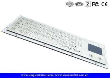Brushed IP65 Kiosk Metal Industrial Keyboard With Touchpad Panel Mount From The Back